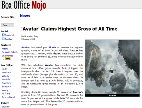 'Avatar' Claims Highest Gross of All Times
